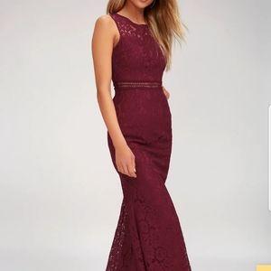 Burgundy full lace dress